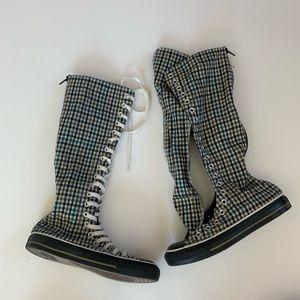Converse Plaid Knee High Sneakers women's 7